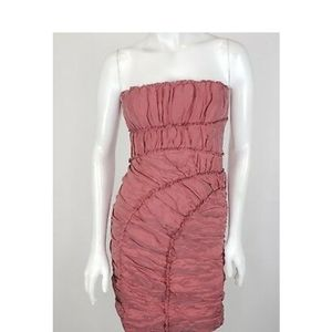 BCBG woven raspberry cocktail dress